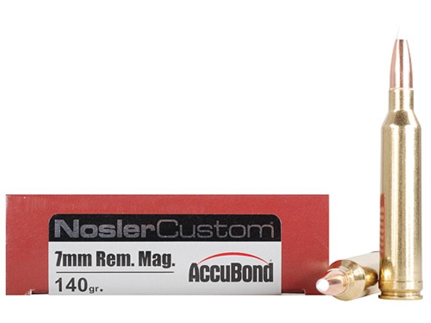 Nosler Trophy Grade Ammunition 7mm Remington Magnum 140 Grain AccuBond Spitzer Box of 20