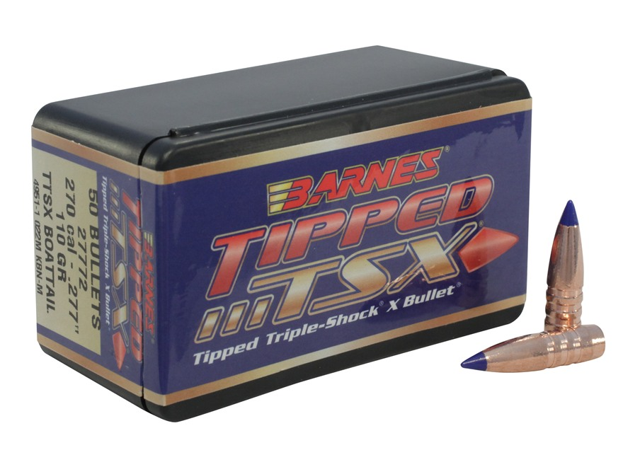 Barnes Tipped Triple-Shock X Bullets 270 Caliber (277 Diameter) 110 Grain Spitzer Boat Tail Lead-Free Box of 50
