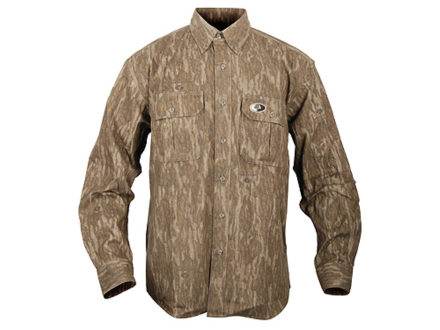 Russell Outdoors Men's Explorer Shirt Long Sleeve Cotton Polyester Blend Mossy Oak New Bottomland Camo XL 46-48