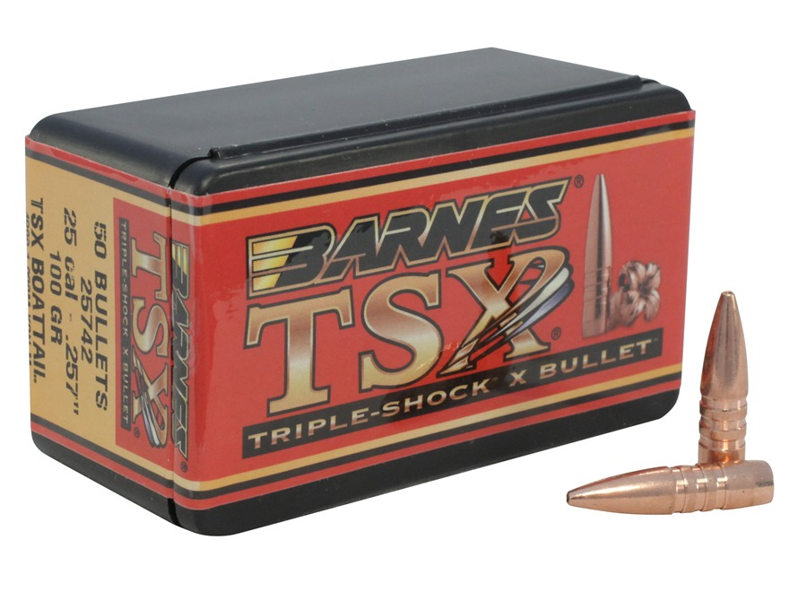 Barnes Triple-Shock X Bullets 25 Caliber (257 Diameter) 100 Grain Hollow Point Boat Tai...