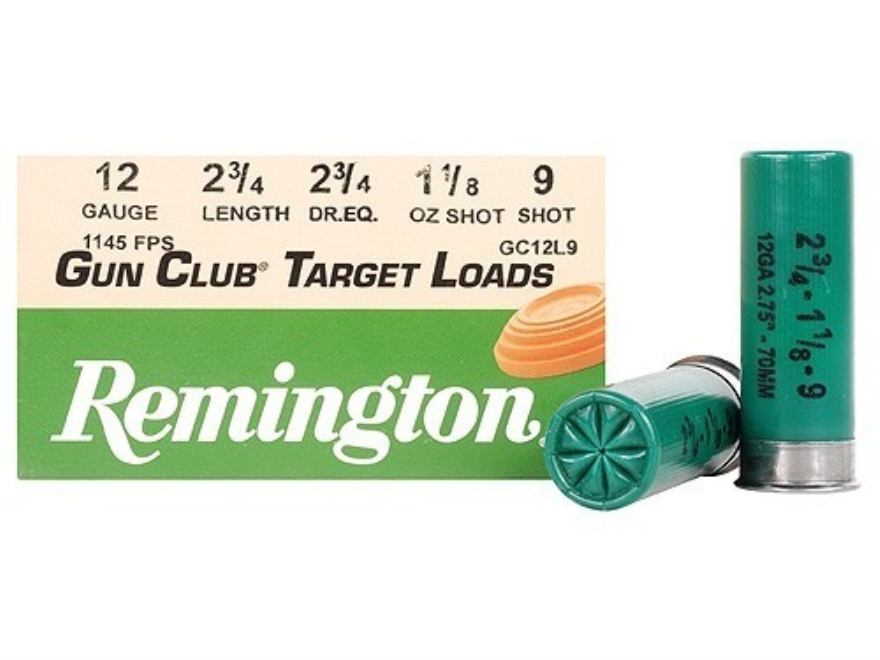 "Remington Gun Club Target Ammunition 12 Gauge 2-3/4"" 1-1/8 oz #9 Shot"