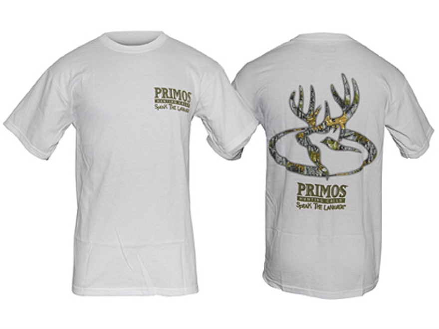 Primos Men's Deer T-Shirt Short Sleeve Cotton White and Mossy Oak Break-Up Camo XL