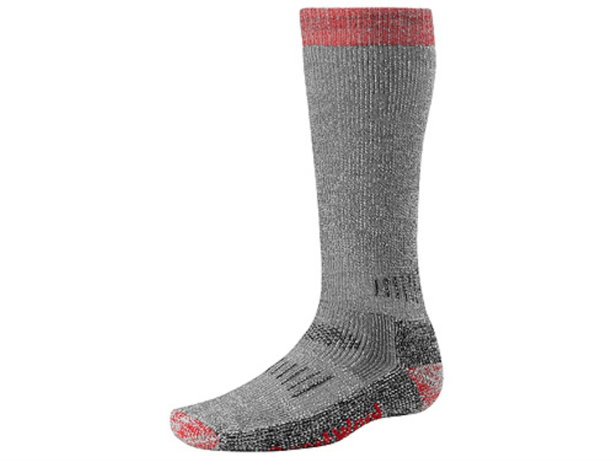 SmartWool Men's Hunting Extra Heavyweight Over the Calf Socks Wool Blend Gray and Red XL 12-14-1/2