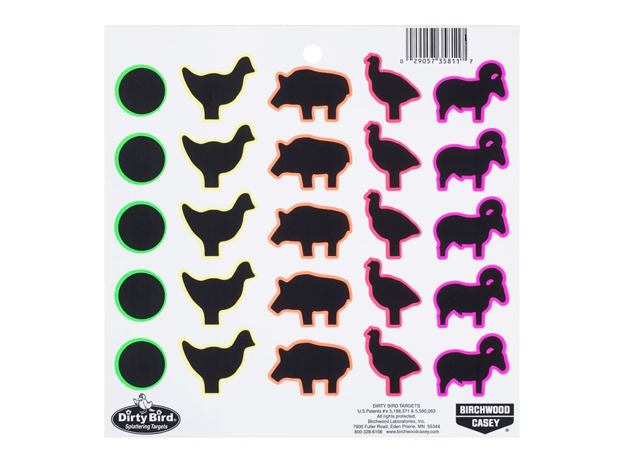 Birchwood Casey Dirty Bird Multi-Color Animal Silhouette Target Package of 20