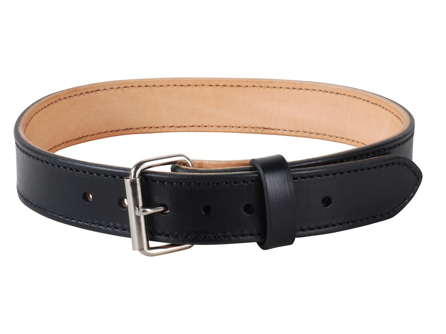 "Lenwood Leather Double Layer Belt 1-3/4"" Steel Buckle Leather Black 34"""