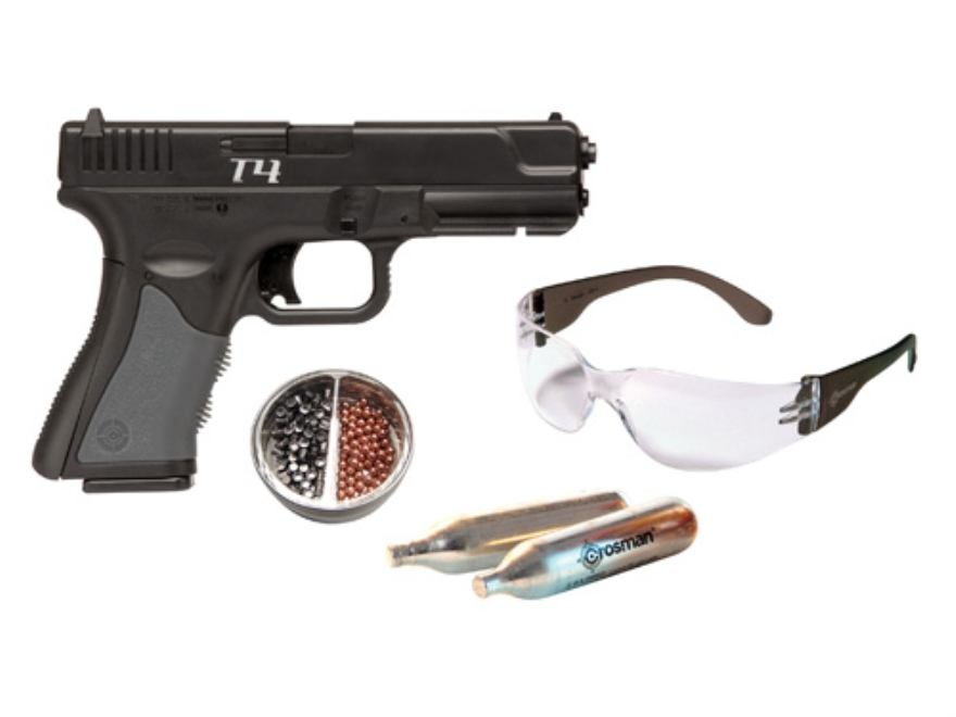 Crosman T4 Air Pistol Kit 177 Caliber BB and Pellet Polymer Stock Black