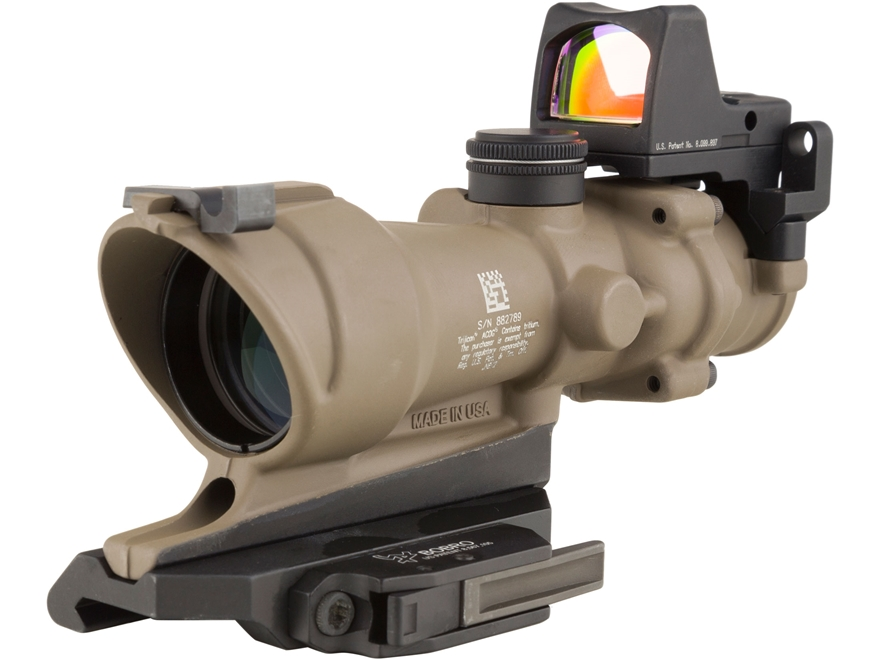 Trijicon ACOG TA01-ECOS-RMR Rifle Scope 4x 32mm Tritium Illuminated Amber Crosshair 223 Remington Reticle with 3.25 MOA RMR Red Dot Sight, Iron Sight and Quick Release Mount Dark Earth