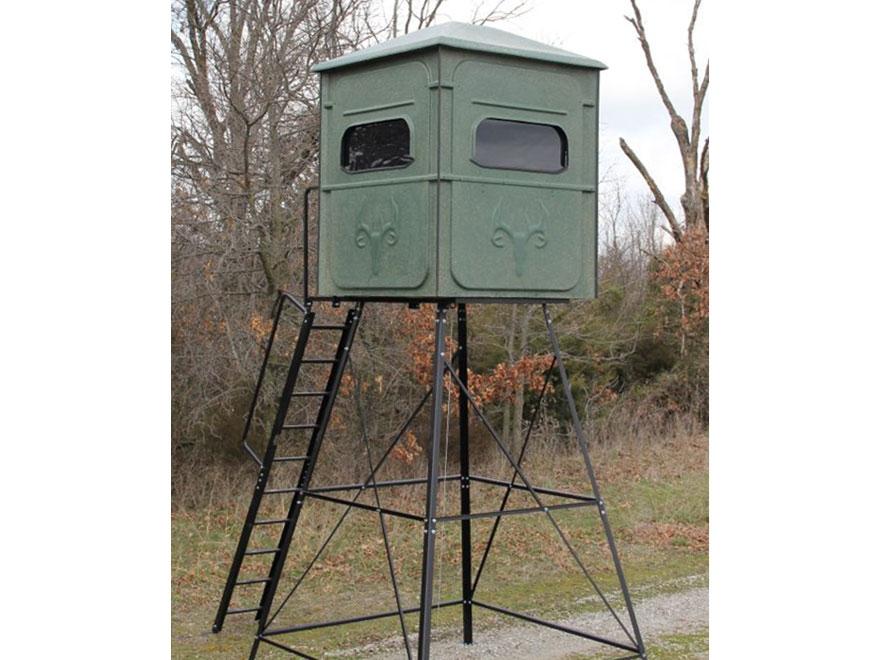 Redneck blinds trophy tower elevated box blind for Elevated deer hunting blinds