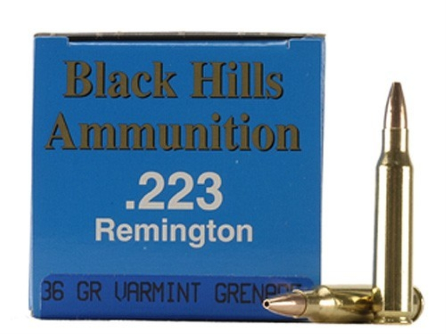 Black Hills Remanufactured Ammunition 223 Remington 36 Grain Barnes Varmint Grenade Hollow Point Flat Base Lead-Free Box of 50
