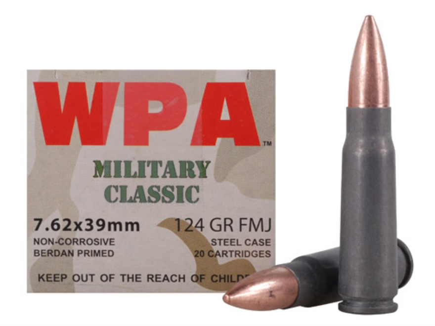 Wolf Military Classic Ammunition 7.62x39mm 124 Grain Full Metal (Bi-Metal) Jacket Steel Case Berdan Primed