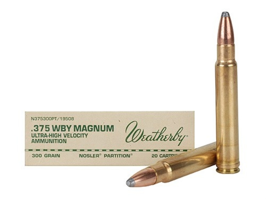 Weatherby Ammunition 375 Weatherby Magnum 300 Grain Nosler Partition Box of 20