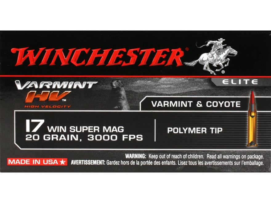 Winchester Varmint High Velocity Ammunition 17 Winchester Super Magnum 20 Grain Hornady V-Max