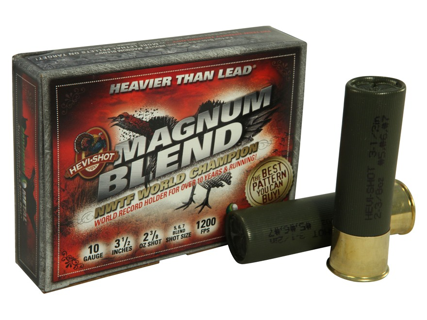 "Hevi-Shot Magnum Blend Turkey Ammunition 10 Gauge 3-1/2""  2-3/8 oz #5, #6 and #7 Hevi-Shot High Velocity Non-Toxic Box of 5"