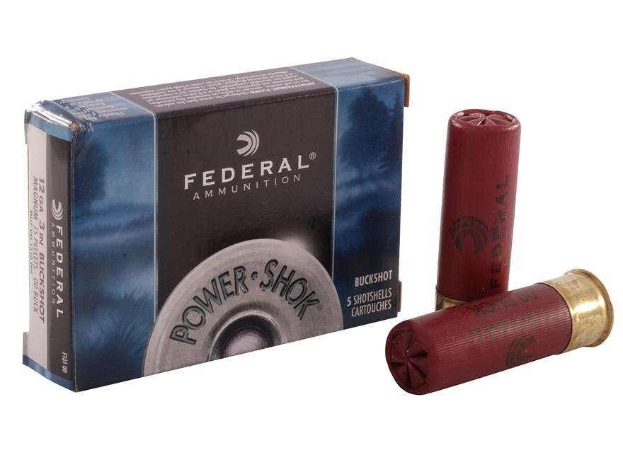 """Federal Power-Shok Ammunition 12 Gauge 3"""" Buffered 00 Buckshot 15 Pellets Box of 5"""
