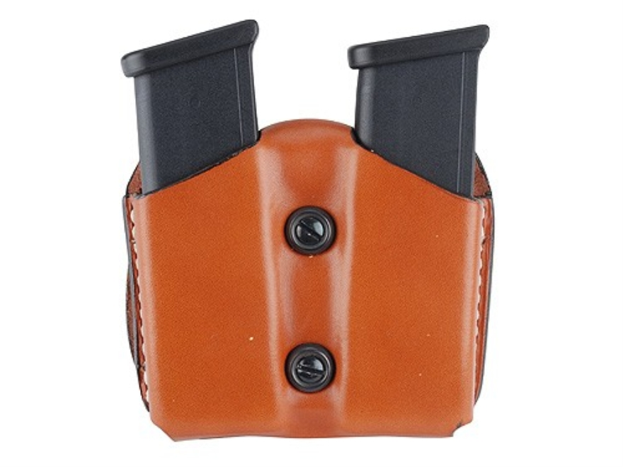 DeSantis Double Magazine Pouch 40 S&W, 9mm Single Stack Magazines Leather