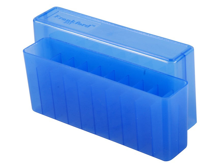 Frankford Arsenal Slip-Top Ammo Box #211 300 Remington Ultra Magnum, 375 H&H Magnum 20-Round Plastic Blue Box of 10