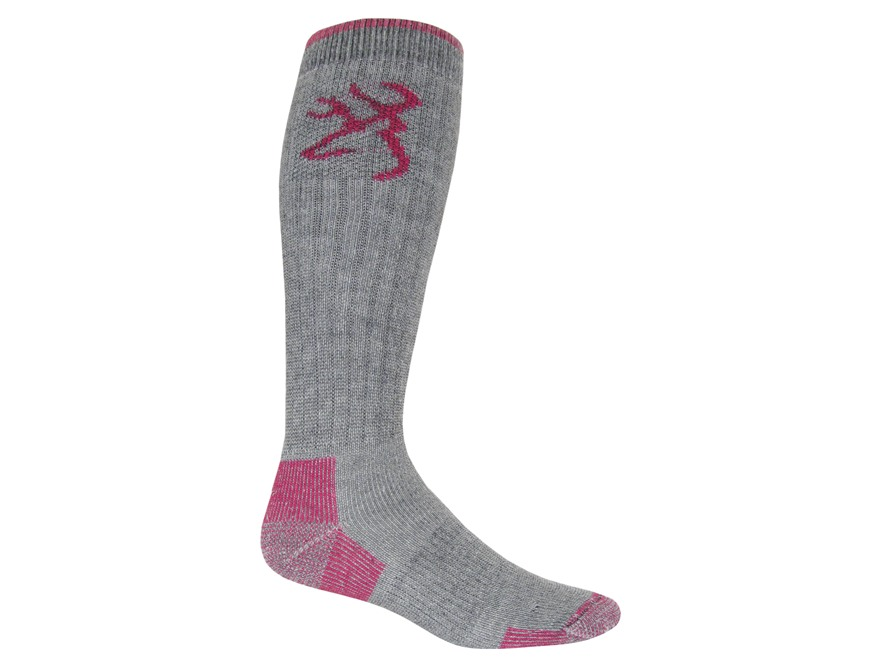 Browning Women's Heavyweight OTC Socks Merino Wool Blend Gray and Pink Medium 6-9