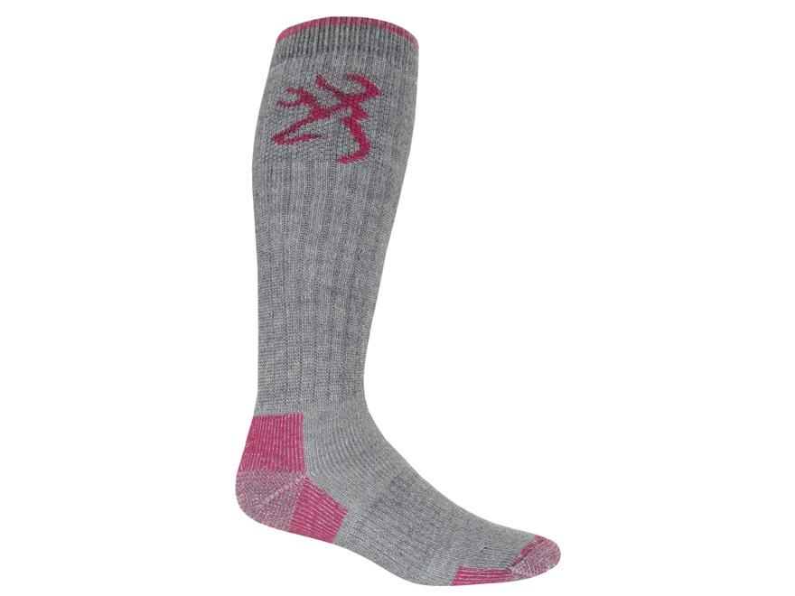 Browning Women's Heavyweight OTC Socks Merino Wool Blend Gray and Pink Medium 6-9