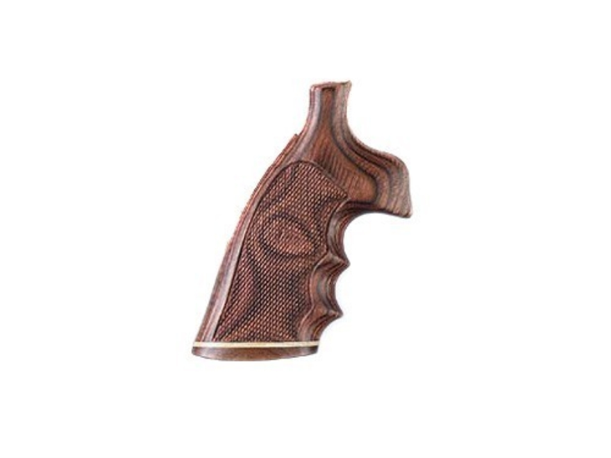 Hogue Fancy Hardwood Conversion Grips with Accent Stripe, Finger Grooves and Contrasting Butt Cap S&W N-Frame Round to Square Butt Checkered