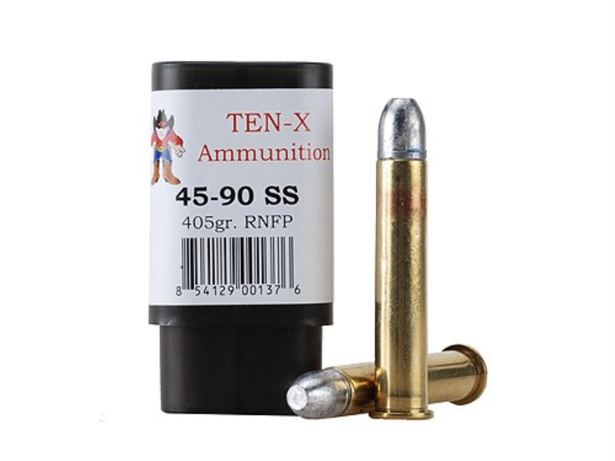 Ten-X Cowboy Ammunition 45-90 WCF Single Shot 405 Grain Round Nose Flat Point Box of 20