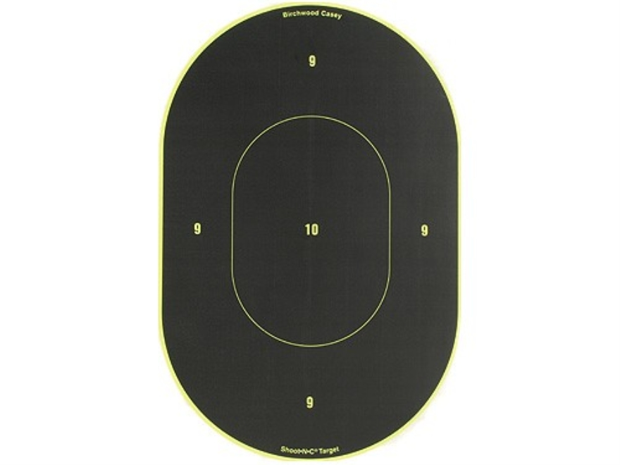 "Birchwood Casey Shoot-N-C Targets 9"" Oval Package of 5 with 100 Pasters"