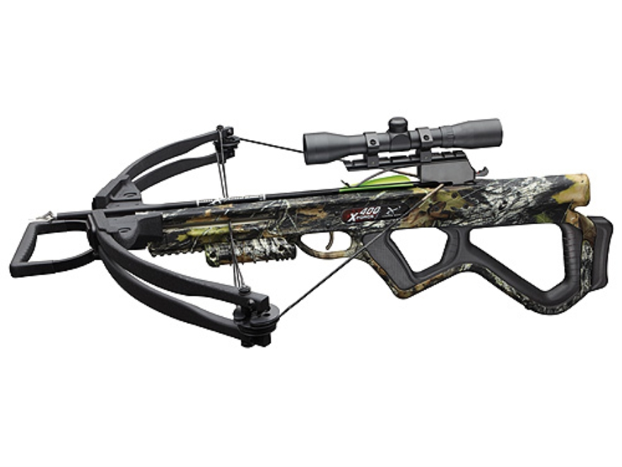 Carbon Express X-Force 400 Crossbow Package with 4x32 Multi-Reticle Scope Mossy Oak Break Up Camo