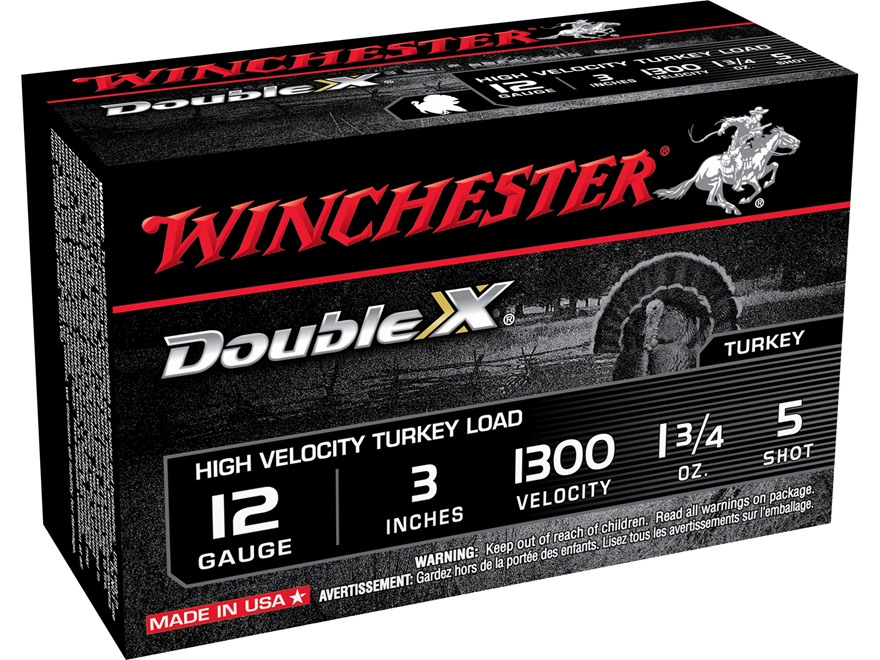 "Winchester Double X Turkey Ammunition 12 Gauge 3"" 1-3/4 oz #5 Copper Plated Shot"