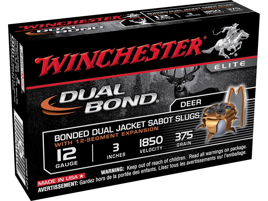 "Winchester Dual Bond Ammunition 12 Gauge 3"" 375 Grain Jacketed Hollow Point Sabot Slug Box of 5"