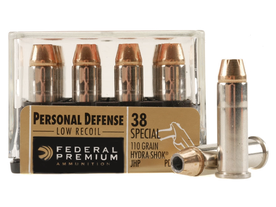 Federal Premium Personal Defense Reduced Recoil Ammunition 38 Special 110 Grain Hydra-Shok Jacketed Hollow Point Box of 20