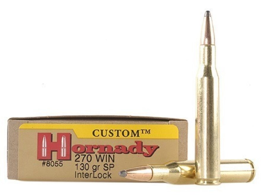 Hornady Custom Ammunition 270 Winchester 130 Grain InterLock Spire Point Box of 20