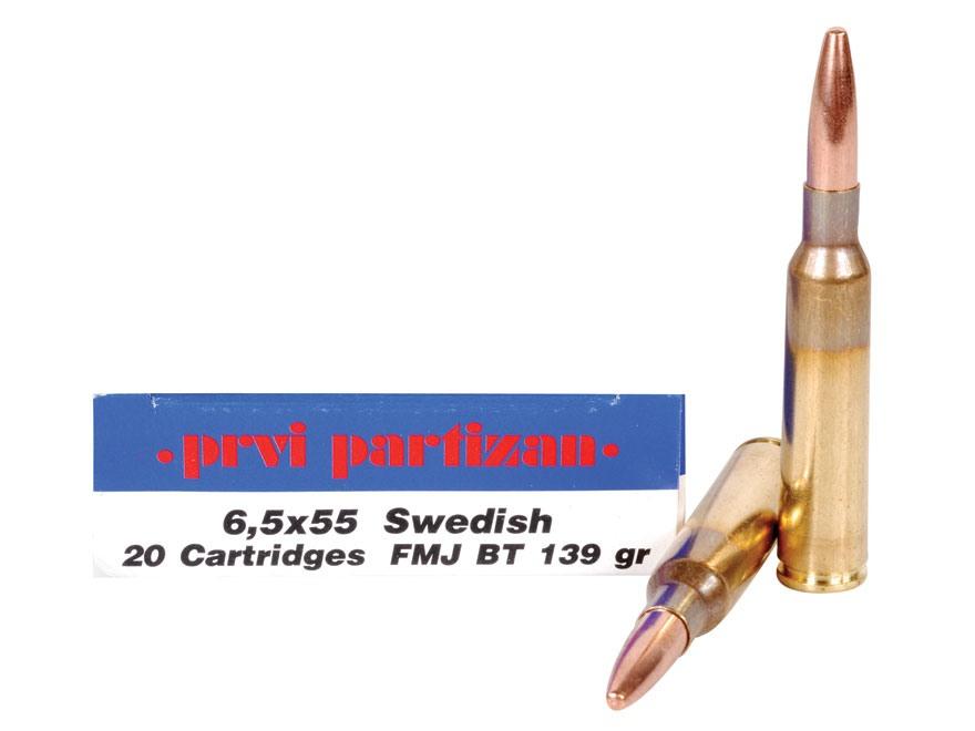 Prvi Partizan Ammunition 6.5x55mm Swedish Mauser 139 Grain Full Metal Jacket Box of 20