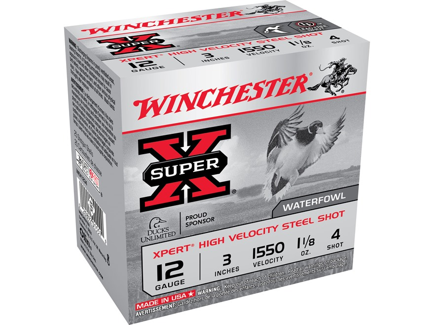 "Winchester Xpert High Velocity Ammunition 12 Gauge 3"" 1-1/8 oz #4 Non-Toxic Steel Shot"