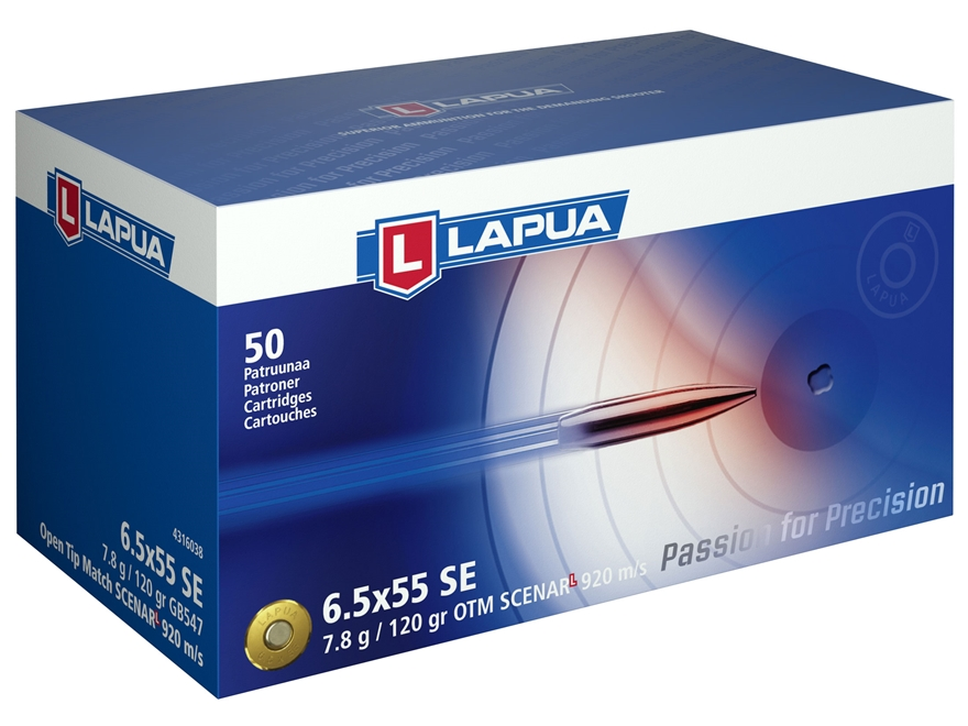 Lapua Scenar-L Ammunition 6.5x55mm Swedish Mauser 120 Grain Hollow Point Boat Tail Box of 50