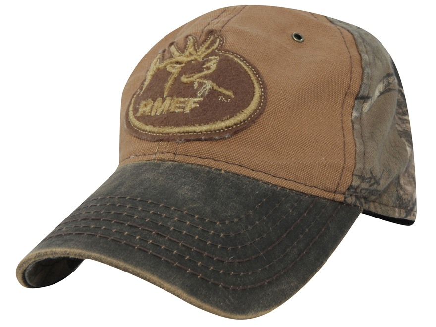 Rocky Mountain Elk Foundation Logo Cap Cotton Brown and Realtree Xtra Camo