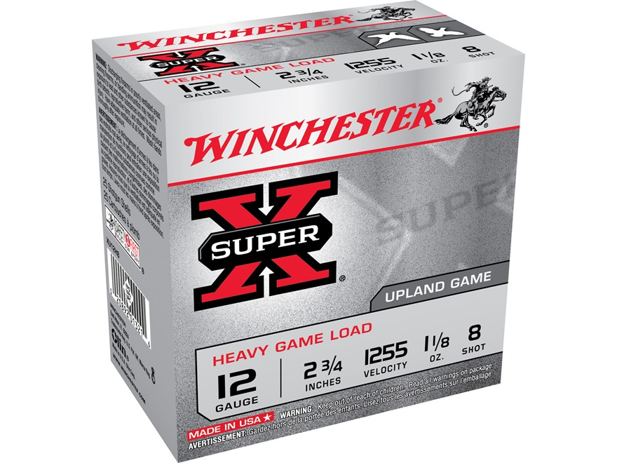 "Winchester Super-X Heavy Game Load Ammunition 12 Gauge 2-3/4"" 1-1/8 oz #8 Shot"