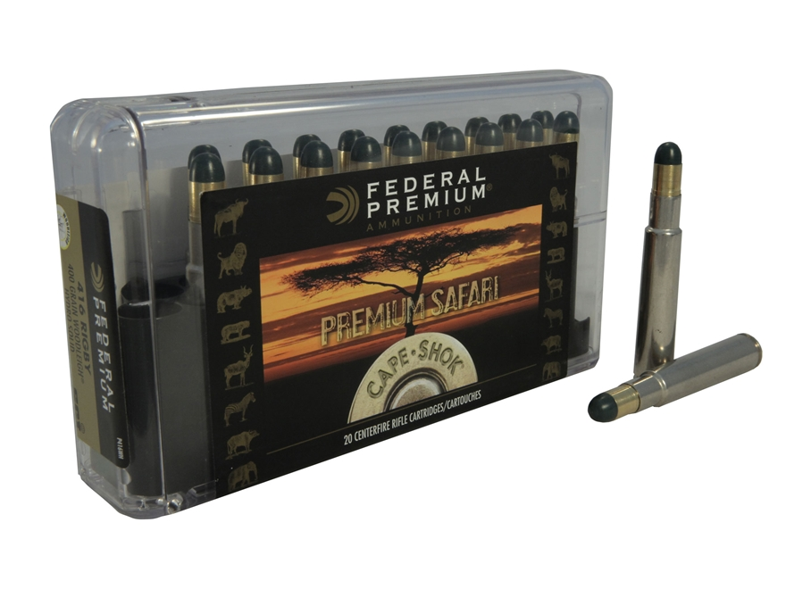 Federal Premium Cape-Shok Ammunition 416 Rigby 400 Grain Woodleigh Hydrostatically Stabilized Solid Bullets Box of 20