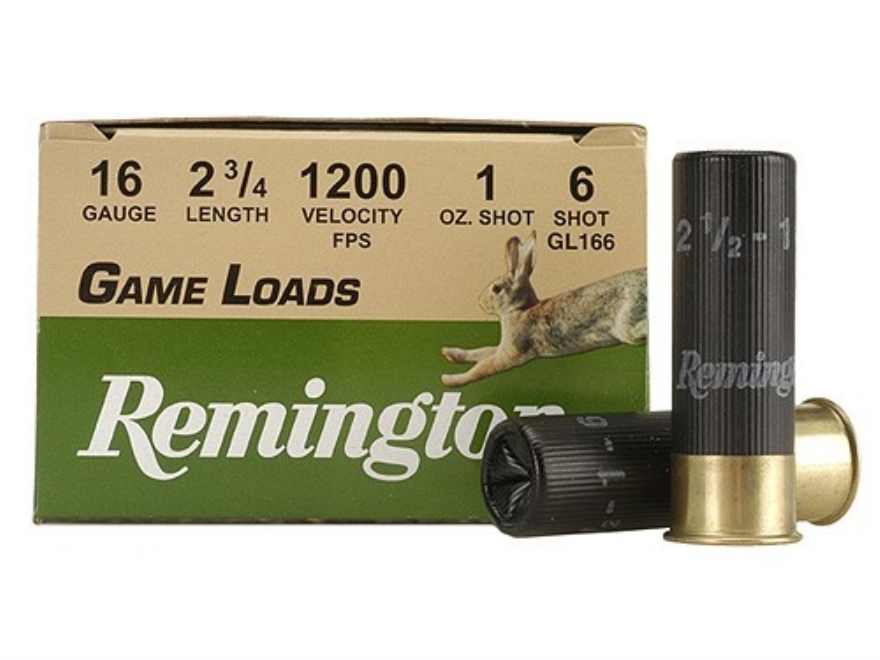 "Remington Game Load Ammunition 16 Gauge 2-3/4"" 1 oz #6 Shot Box of 25"