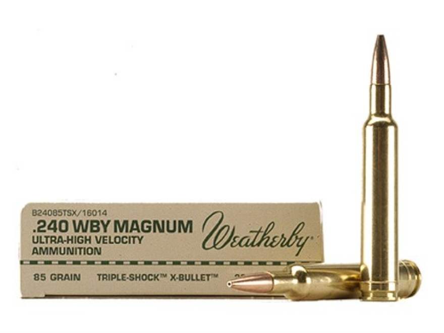 Weatherby Ammunition 240 Weatherby Magnum 85 Grain Barnes Triple-Shock X Bullet Hollow Point Lead-Free Box of 20