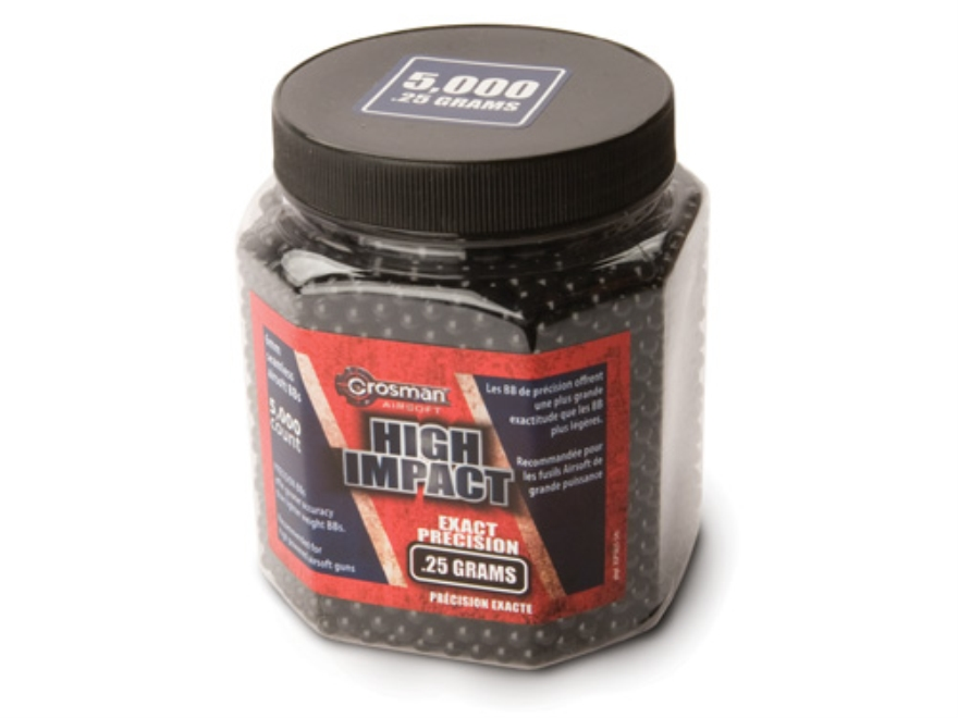 Crosman Airsoft BBs 6mm .25 Gram Ultra Heavy Black Package of 5,000