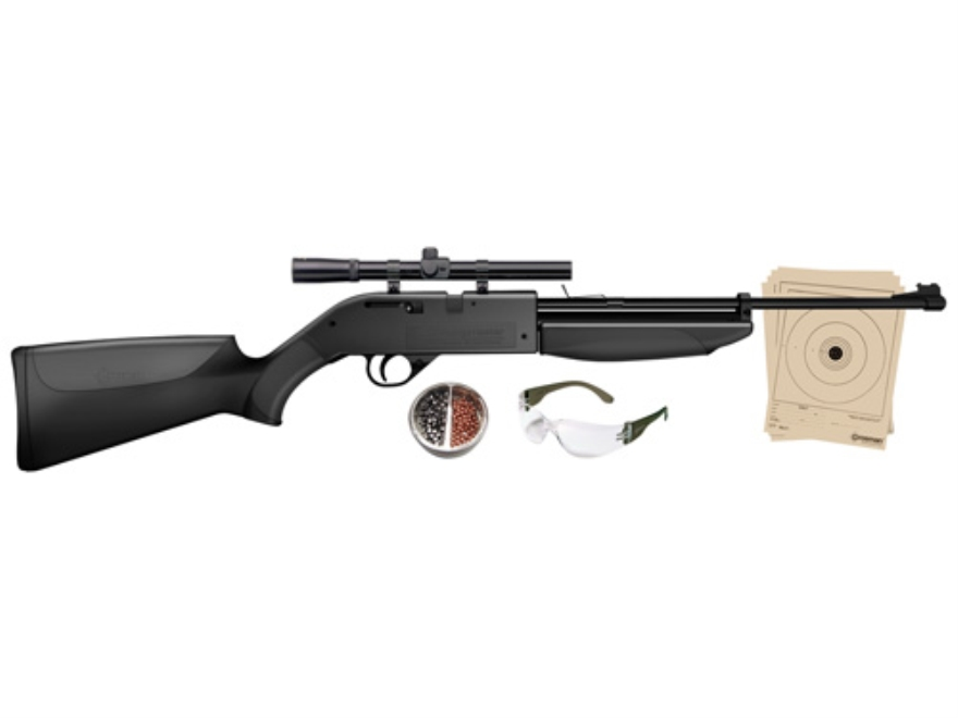 Crosman 760 Pumpmaster Pump Air Rifle 177 Caliber BB and Pellet Black Synthetic Stock Matte Barrel Kit with 4x 15mm Scope