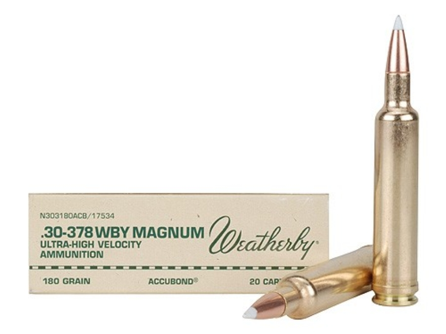 Weatherby Ammunition 30-378 Weatherby Magnum 180 Grain Nosler AccuBond Box of 20