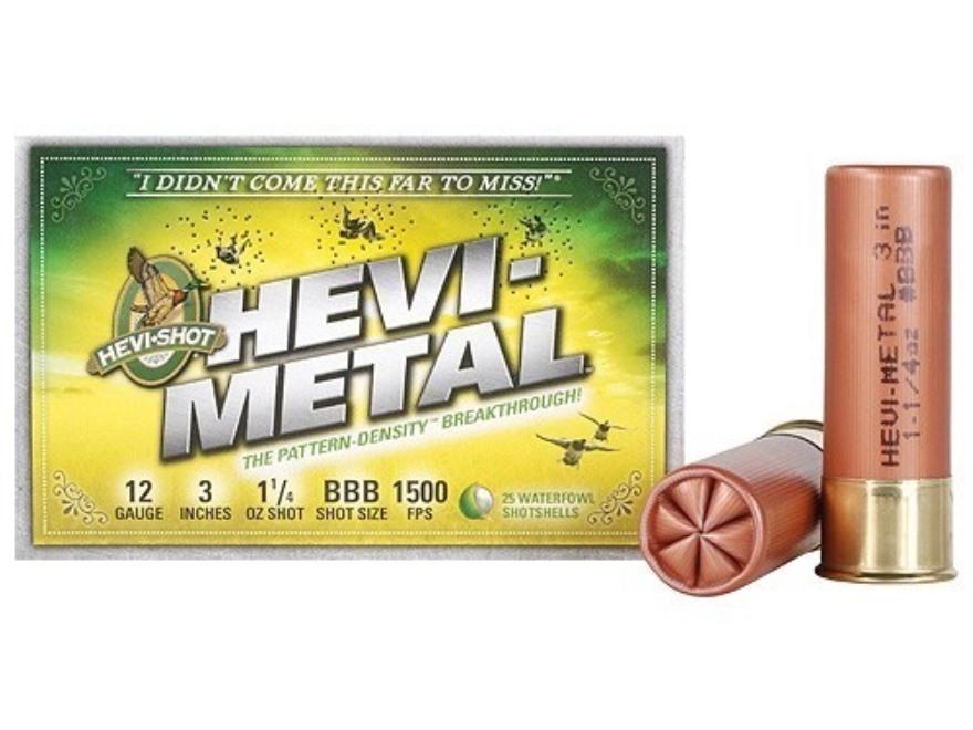 "Hevi-Shot Hevi-Metal Waterfowl Ammunition 12 Gauge 3"" 1-1/4 oz BBB Hevi-Metal Non-Toxic"