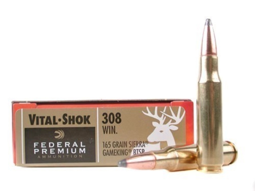 Federal Premium Vital-Shok Ammunition 308 Winchester 165 Grain Sierra GameKing Soft Point Boat Tail Box of 20