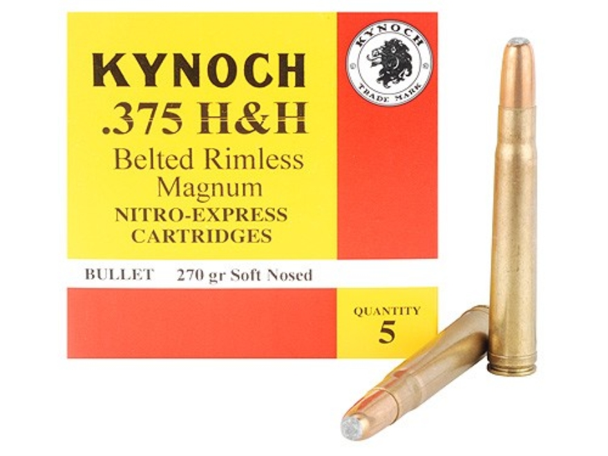 Kynoch Ammunition 375 H&H Magnum 270 Grain Woodleigh Weldcore Soft Point Box of 5