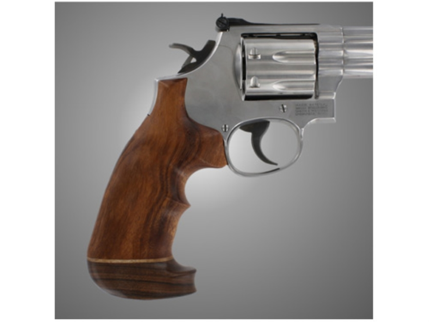 Hogue Fancy Hardwood Conversion Grips with Accent Stripe and Top Finger Groove S&W K, L-Frame Round to Square Butt Oversize