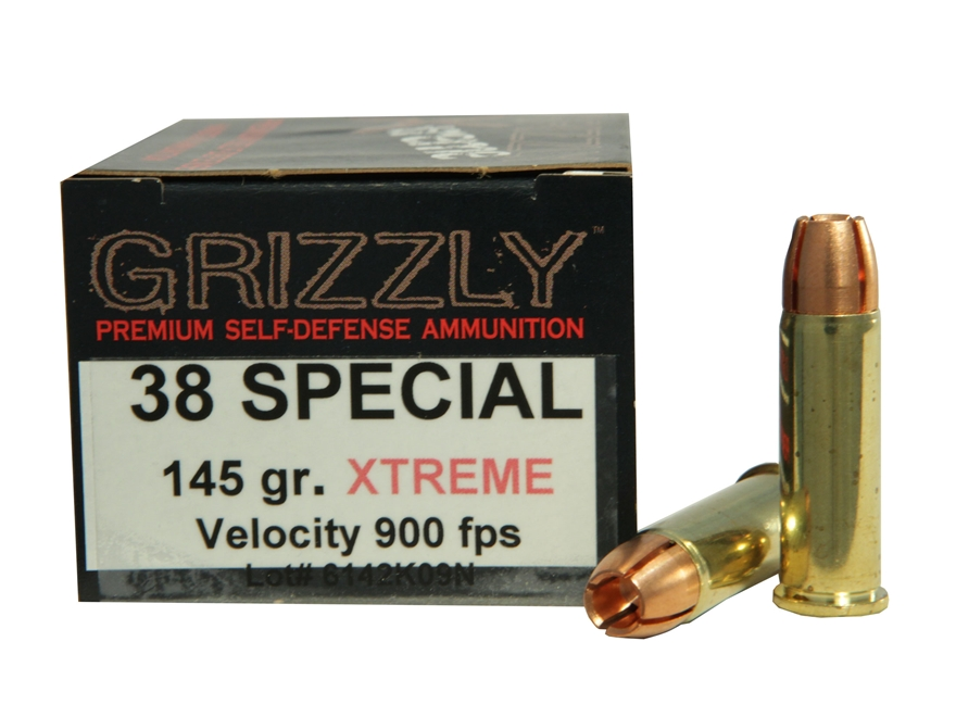 Grizzly Self-Defense Ammunition 38 Special 145 Grain Xtreme Copper Hollow Point Lead-Free Box of 20