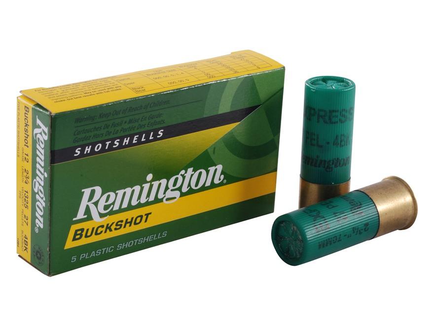 "Remington Express Ammunition 12 Gauge 2-3/4"" #4 Buckshot 27 Pellets Box of 5"