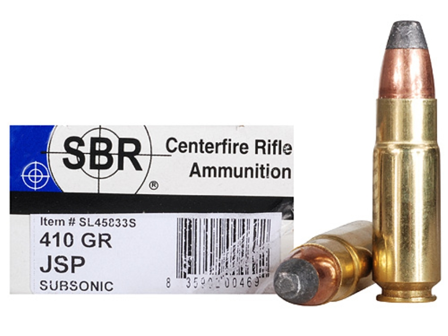 SBR Ammunition 458 SOCOM 410 Grain Jacketed Soft Point Subsonic Box of 20