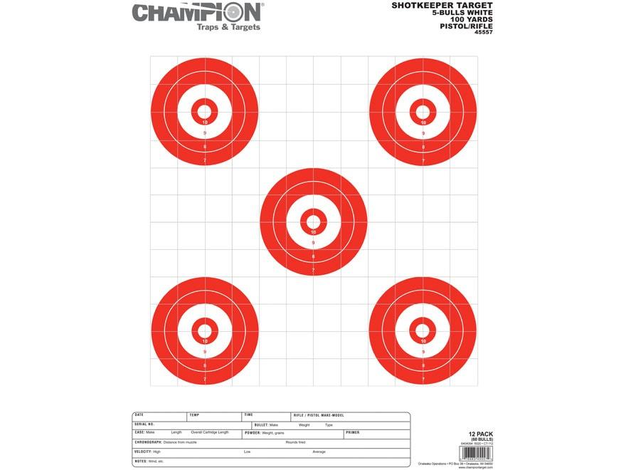 "Champion ShotKeeper 5 Large Bullseye Target 14"" x 18"" Paper White/ Red Bull Package of 12"