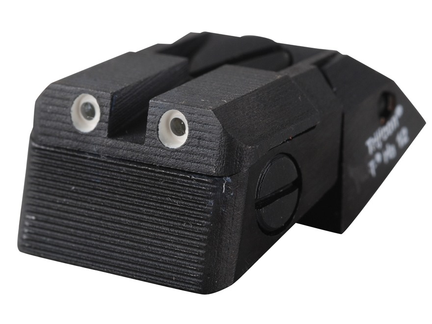 Kensight Fully Adjustable Defensive Rear Night Sight 1911 Novak LoMount Cut Steel Black Serrated Blade with High Visibility Green Tritium Dots